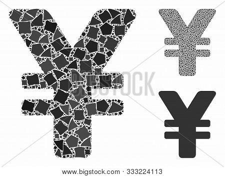 Japanese Yen Mosaic Of Ragged Pieces In Various Sizes And Color Tinges, Based On Japanese Yen Icon.