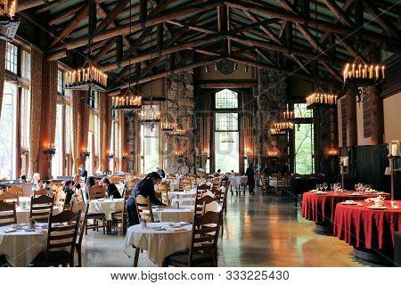 September 6, 2019 In Yosemite, Ca:  Elegant Dining Room Taken At The Historical Ahwahnee Hotel In Yo