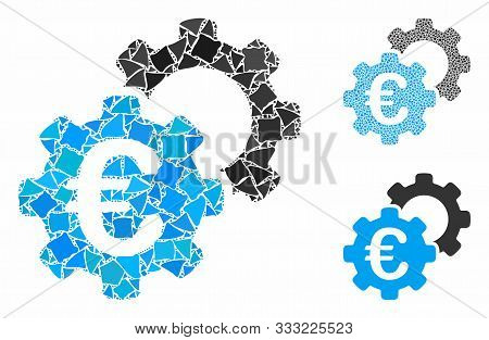 Euro Industrial Composition Of Bumpy Elements In Variable Sizes And Color Hues, Based On Euro Indust