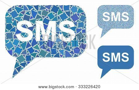 Sms Mosaic Of Bumpy Elements In Different Sizes And Color Hues, Based On Sms Icon. Vector Bumpy Elem
