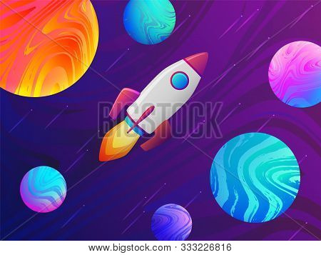 Rocket Spaceship Travel To The New Planets And Galaxies. Space Trip Future Technology. Asteroid Mini