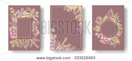 Cute Herb Twigs, Tree Branches, Flowers Floral Invitation Cards Templates. Plants Borders Rustic Car