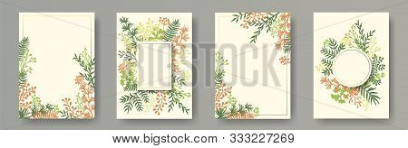 Botanical Herb Twigs, Tree Branches, Leaves Floral Invitation Cards Templates. Herbal Corners Vintag