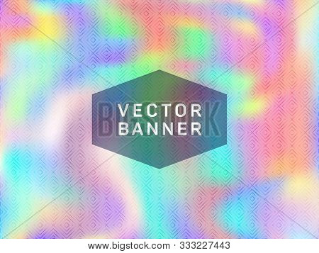 Simple Poster Glitch Holographic Vector Layout Design. Fluid Shimmer Overlay Elements. Blinking Glit
