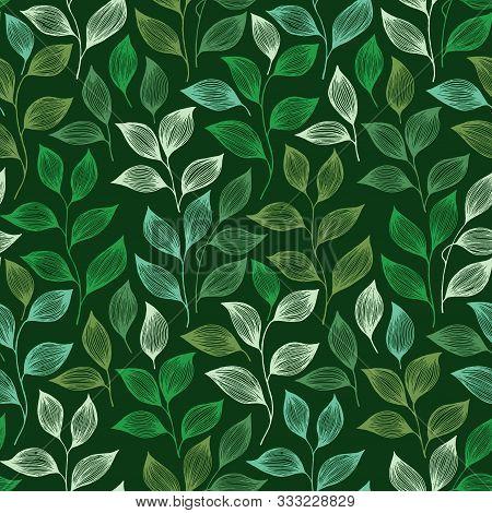 Wrapping Tea Leaves Pattern Seamless Vector. Minimal Tea Plant Bush Leaves Floral Textile Ornament.