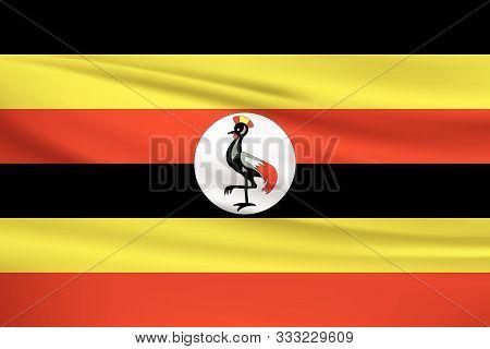 Uganda Flag Vector Icon, Uganda Flag Waving In The Wind.