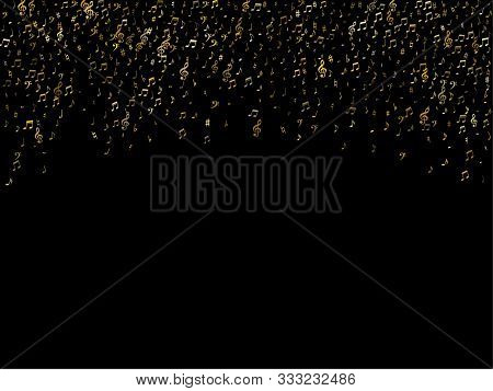 Gold Flying Musical Notes Isolated On Black Background. Cute Musical Notation Symphony Signs, Notes