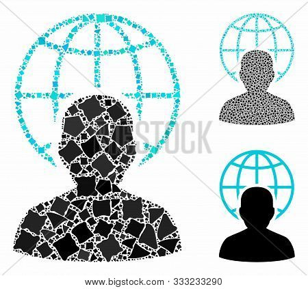 Global Governor Mosaic Of Rough Elements In Different Sizes And Color Tinges, Based On Global Govern