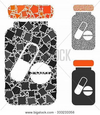 Drugs Phial Mosaic Of Irregular Pieces In Different Sizes And Color Hues, Based On Drugs Phial Icon.