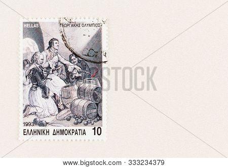 Seattle Washington - October 5, 2019: Postage Stamp Commemorating 1821 Greek Uprising Against The Ot