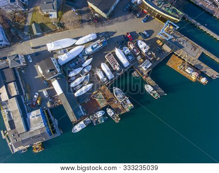 Aerial View Of Gloucester City And Gloucester Harbor, Cape Ann, Massachusetts, Ma, Usa.