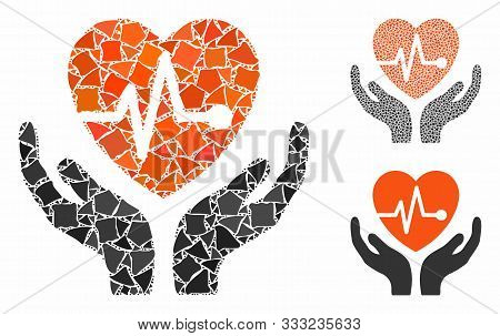 Cardiology Mosaic Of Humpy Items In Different Sizes And Color Tones, Based On Cardiology Icon. Vecto