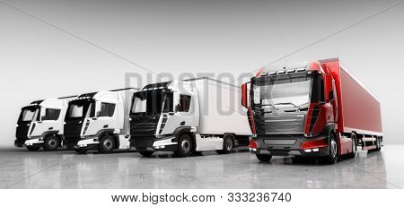Fleet of trucks with cargo trailers. Transport, shipping industry. 3D illustration