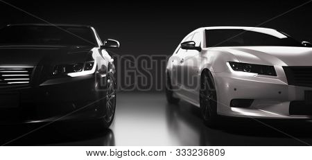 Two new cars, black and white, sedan type in modern style. Compare, make a choice concept. 3D illustration