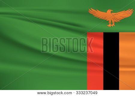 Zambia flag vector icon, Zambia flag waving in the wind.