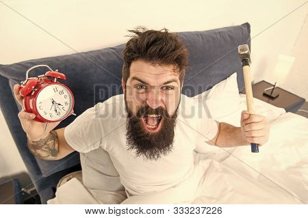 Hateful Schedule. Best Alarm Clocks For People Who Hate Mornings. Man Angry Hipster Hate Wake Up Ear