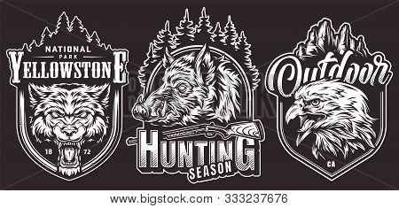 Monochrome Outdoor Adventure Vintage Labels With Cruel Wolf Wild Boar Eagle Heads Inscriptions Shotg