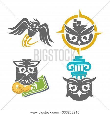 Owl Fly Money Law Application Logo Design Vector Template Set
