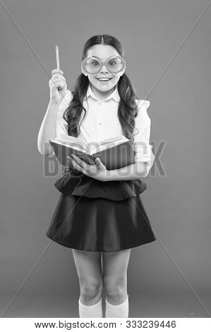 Happy Little Schoolgirl Ready For Lesson. Cute Child With Book. Only Wisdom Knowing You Know Nothing