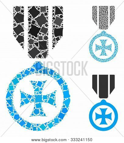 Maltese Cross Mosaic Of Rugged Pieces In Variable Sizes And Color Tints, Based On Maltese Cross Icon