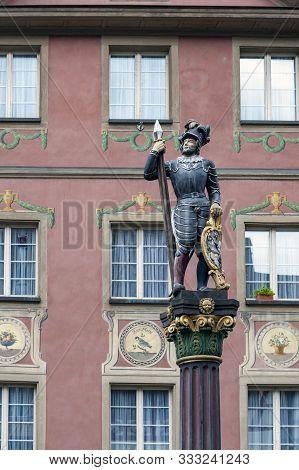 Stein Am Rhein, Switzerland - October 2019: Stadtbrunnen Or Marktbrunnen, The City Fountain Decorate