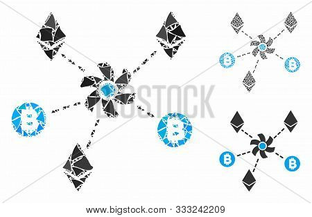 Cryptocurrency Mixer Rotor Composition Of Tremulant Pieces In Different Sizes And Color Tints, Based