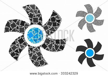 Rotor Composition Of Tuberous Pieces In Various Sizes And Color Tones, Based On Rotor Icon. Vector I
