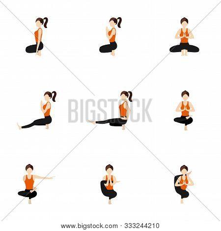 Illustration Stylized Woman Practicing Yoga Postures On Tiptoe