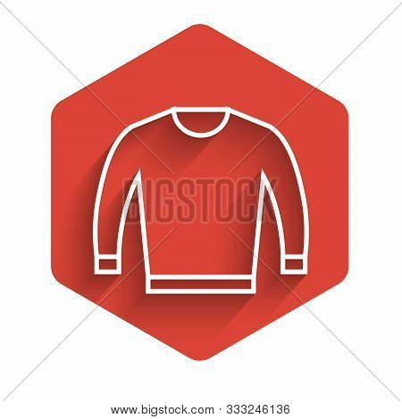 White Line Sweater Icon Isolated With Long Shadow. Pullover Icon. Red Hexagon Button. Vector Illustr