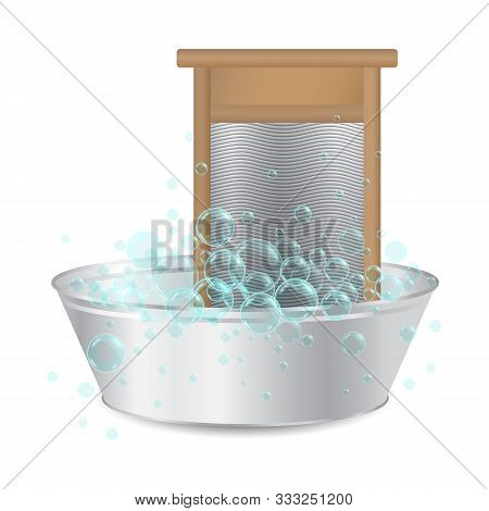 Realistic Ribbed Hand Washboard In Metal Basin For Washing With Soap Bubbles Isolated On White Backg