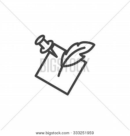 Notepaper With Feather Pen Line Icon. Linear Style Sign For Mobile Concept And Web Design. Quill And