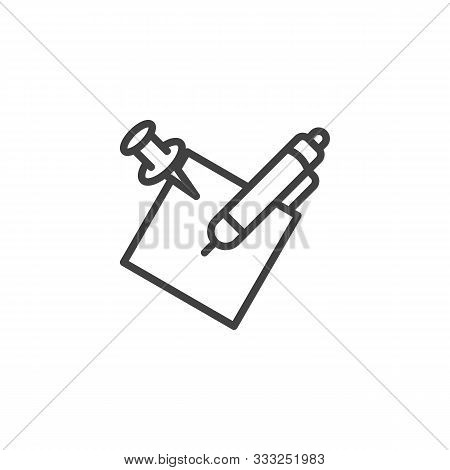 Notepaper With Pen Line Icon. Linear Style Sign For Mobile Concept And Web Design. Pencil And Memo P