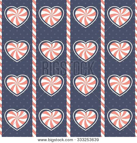 Christmas Pattern. Seamless Vector Illustration With Heart-shaped Candy Canes