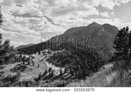 Foothills And Rocky Mountains In Black And White At Ncar Trail Head, National Center For Atmospheric