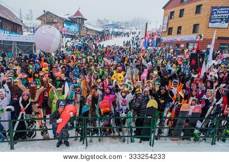 Sheregesh, Kemerovo Region, Russia - April 06, 2019: Young People In Carnival Costumes On The Mounta