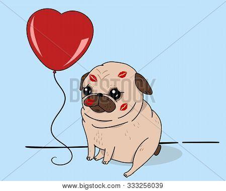 Creative Conceptual Holiday Valentines Day Birthday Vector Illustration. Pug Dog With Heartshaped Ba