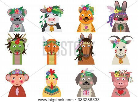 A Set Of Chinese Zodiac With Bohemian Floral Headpiece