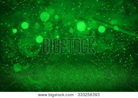 Green Beautiful Shiny Abstract Background Glitter Lights With Sparks Fly Defocused Bokeh - Festal Mo
