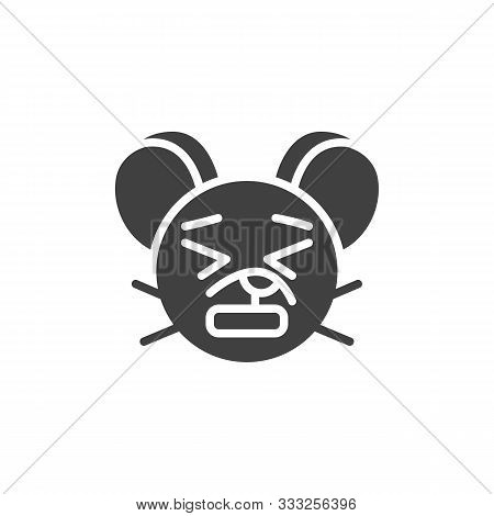 Anguished Rat Emoticon Vector Icon. Filled Flat Sign For Mobile Concept And Web Design. Upset Mouse