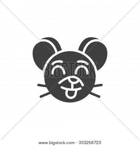 Stuck-out Tongue Rat Emoticon Vector Icon. Filled Flat Sign For Mobile Concept And Web Design. Showi