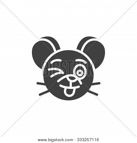 Winking Rat Emoticon Vector Icon. Filled Flat Sign For Mobile Concept And Web Design. Wink Happy Mou