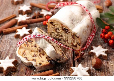 stollen fruit, christmas cake and decoration