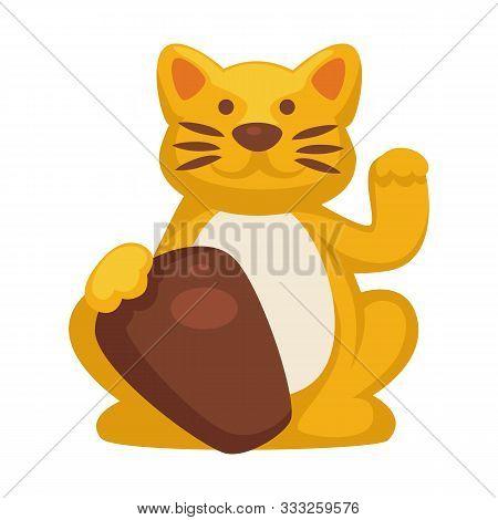 Chinese Maneki Neko Cat Isolated Icon, Japanese Gold Kitten