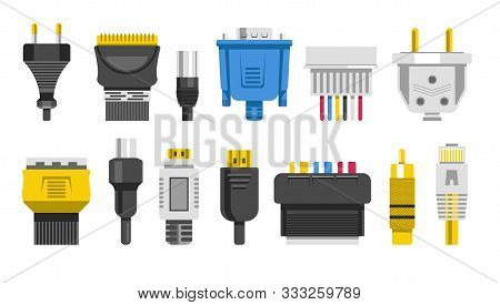 Plugs And Connectors Or Connection Cables, Wiring Isolated Icons