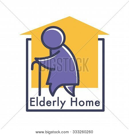 Elderly Care Or Nursing Home Isolated Icon, Senior People Care