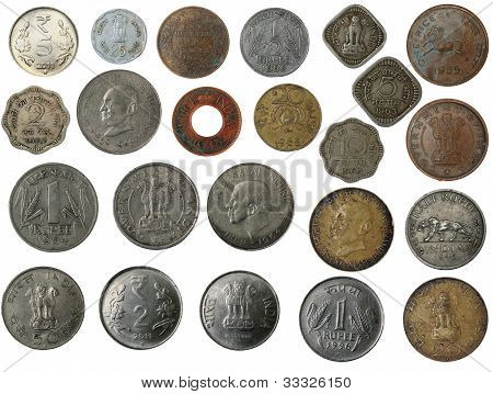 Old new and antique indian brass copper aluminium silver and other metal coins isolated on white with clipping mask poster