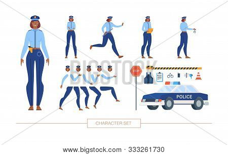 African-american Policewoman In Uniform Character Constructor Isolated, Trendy Flat Design Elements