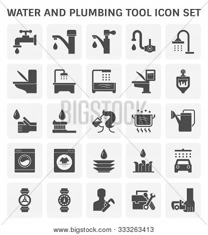 Faucet And Water And Plumbing Tool Vector Icon Set Design