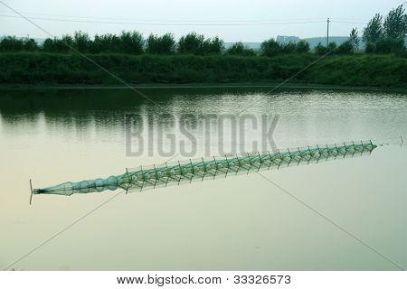 fish ponds scenery rural village, north china poster