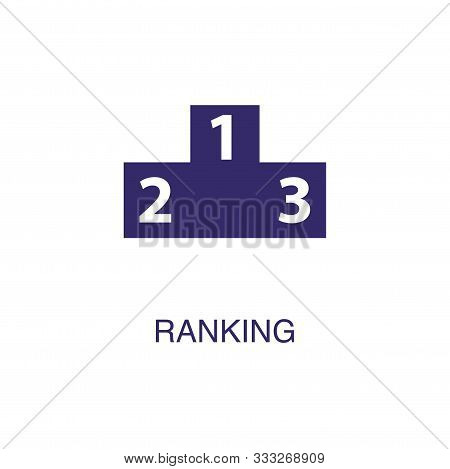 Ranking Element In Flat Simple Style On White Background. Ranking Icon, With Text Name Concept Templ